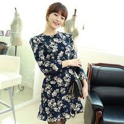 Dodostyle - Floral Patterned Sharp-Shoulder Ruffle-Hem Dress