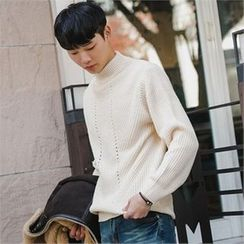 STYLEMAN - Mock-Neck Ribbed Sweater