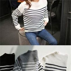 YOOM - Wool Blend Stripe Knit Top