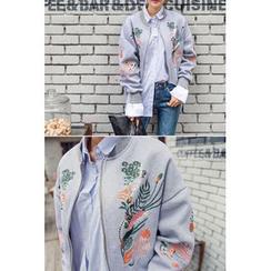 migunstyle - Dolman-Sleeve Embroidered Zip-Up Jacket