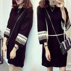 ANGELA - 3/4-Sleeve Knit A-Line Dress