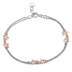 MaBelle - 14K Rose And White Gold Diamond-Cut Star Bracelet (17.5cm)