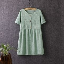 Blue Rose - Embroidered Linen Cotton Short-Sleeve Dress