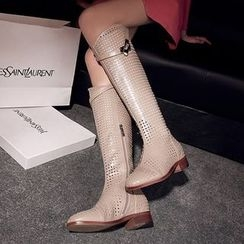 Shoes Galore - Low Heel Perforated Tall Boots
