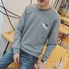 JUN.LEE - Crane Embroidered Sweatshirt