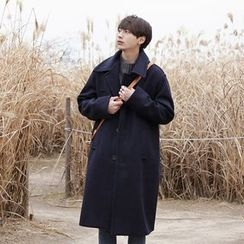 Seoul Homme - Single-Breasted Wool Blend Coat