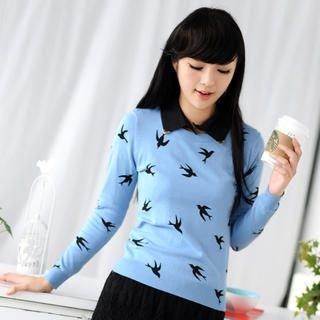 59 Seconds - Detachable Collar Bird Print Knit Top
