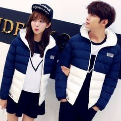 Evolu Fashion - Couple Matching Color Block Padded jacket