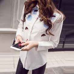 VIZZI - Lapel Embroidered Long-Sleeved White Blouses