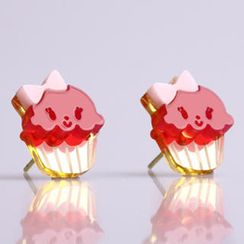 Sweet & Co. - Miss Cupcake Fuchsia Stud Gold Earrings