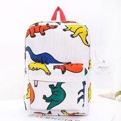 QeQ - Dinosaur-Print Canvas Backpack