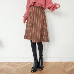 Seoul Fashion - Stripe Wool Blend Midi A-Line Skirt