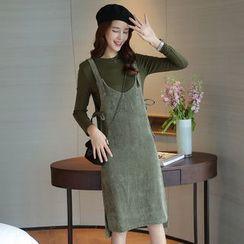 Sienne - Set: Long-Sleeve Plain T-Shirt + Jumper Dress