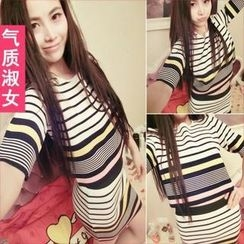 QZ Lady - Set: Elbow-Sleeve Striped Knit Top + Knit Pencil Skirt
