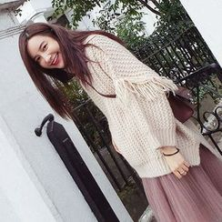 Ashlee - Fringed Chunky Long Sweater