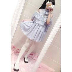 GOGO Girl - Ruffle Trim Stand Collar Chiffon Dress