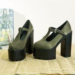安若 - 粗跟厚底T带鞋