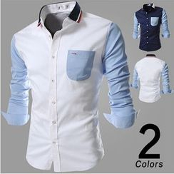 Hansel - Knit Panel Long-Sleeve Shirt
