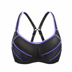 Melanie - Piped Cross Strap Sport Bra Top