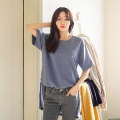 Seoul Fashion - Short-Sleeve Asymmetric T-Shirt