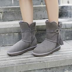 Gizmal Boots - Tasseled Fleece-lined Genuine Leather Snow Boots