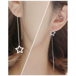 Miss21 Korea - Rhinestone-Star Threader Earrings