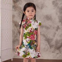Lotus Seed - Kids Short-Sleeve Floral Cheongsam