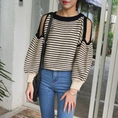 Moon City - Cutout Shoulder Striped Sweater