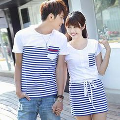 Igsoo - Couple Striped Panel T-Shirt / T-Shirt Dress