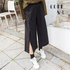 clicknme - Slit-Side Wide-Leg Pants