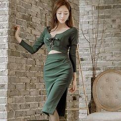 Gl.bY - Long-Sleeve Cut Out Sheath Midi Dress