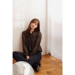 CHERRYKOKO - Tie-Detail Floral Pattern Chiffon Top