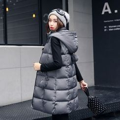 Cobogarden - Hooded Long Padded Vest
