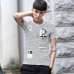 Croni - Striped Short Sleeve Crewneck T-Shirt