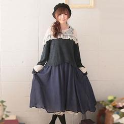 Nectarine - Set: Lace-Shoulder Top + Tank Dress