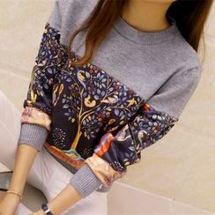 Weaverbird - Long-Sleeve Color Block Print Knit Top