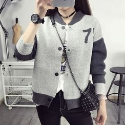 Maine - Patterned Buttoned Knit Cardigan