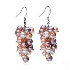 微微珍珠 - 淡水珍珠簇純銀耳環