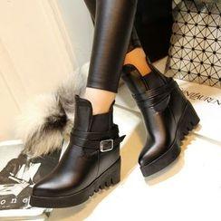 傾城 - 扣帶內增高短靴