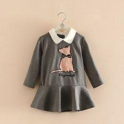 Seashells Kids - Kids Applique Collared Long Sleeve Dress