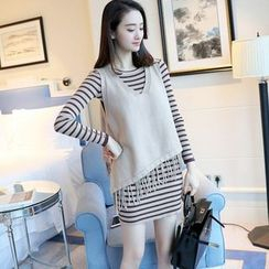 Shomez - Set: Long-Sleeve Striped Sheath Dress + Fringe Vest