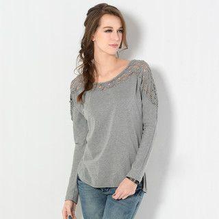 59 Seconds - Long-Sleeve Crochet-Panel T-Shirt