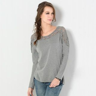 YesStyle Z - Long-Sleeve Crochet-Panel T-Shirt