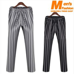 WIZIKOREA - Drawstring-Waist Striped Pants