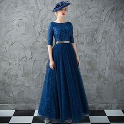 Coeur Wedding - Elbow-Sleeve Evening Dress