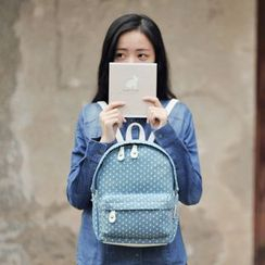 SUPER LOVER - Polka Dot Denim Backpack