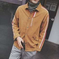 Arthur Look - Striped Letter Embroidered Jacket
