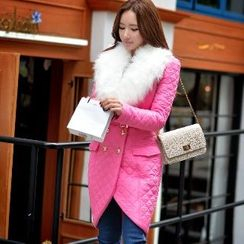 Dabuwawa - Furry-Collar Quilted Belted Coat