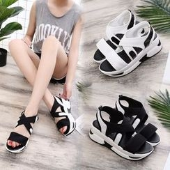Charming Kicks - Contrast Trim Platform Sandals
