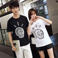 Je T'aime - Couple Matching Skull Print Short-Sleeve T-Shirt